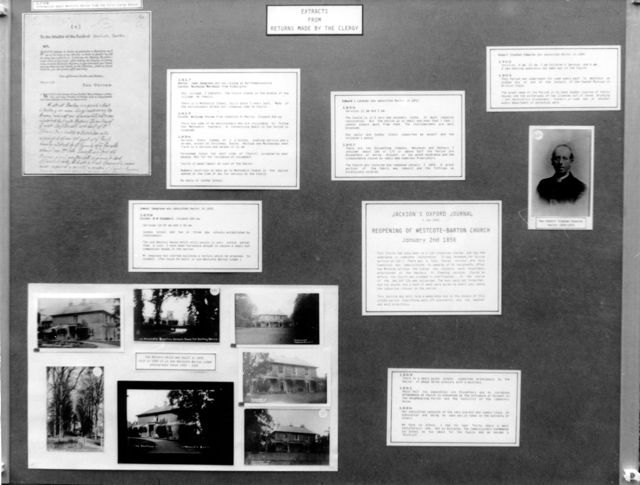 September 1989: Display boards for Harvest and Flower Festival at Wescote Barton Church.