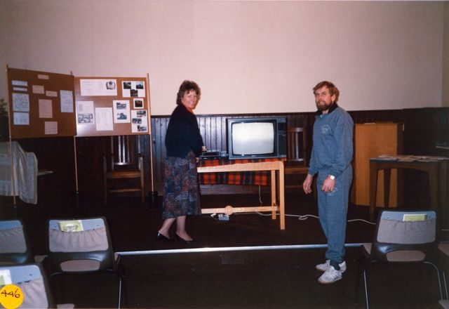 March 1990: Videos evening, Christine and Bill Edbury.
