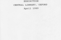 April 1989 Display at Oxfordshire Local History Association Exhibition, Central Library, Oxford.
