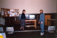 March 1990: Videos evening, Christine and Bill Edbury.