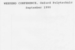 September 1990: Oxford Family History Society weekend conference at Oxford Polytechnic.