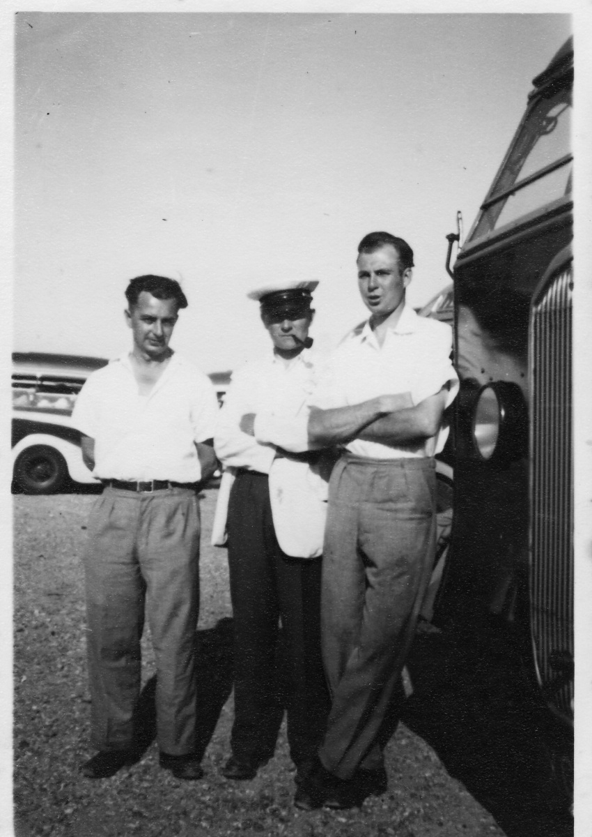 c 1930 coach drivers. Jack Smith, Harry Stevens, Derrick Jarvis.