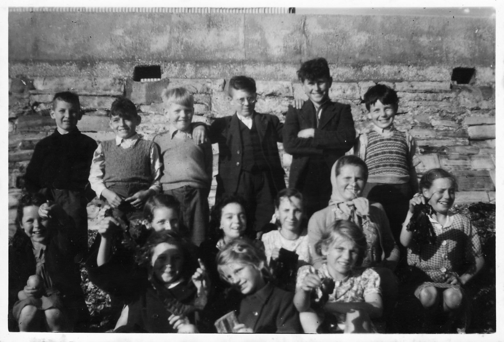 Back row: Lawrence Harrison, Derek Gardner, ?, ?, Fred Hazell and Terry Castle.Middle row: Jenny Reed(?), ? Chilton, Ena Davis, Brenda Rogers, Margaret Bolton and Ruby Hazell.Front row: ?, Dorothy (?) Chilton and Joy Chilton.