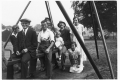 c. 1930 Sunday School Outing, at Wicksteed Park. Front seated: Will Stewart, Alec Stewart, Jean Stewart, Jesse Stewart senior.Right: Ruth Kirby. Kneeling: Daphne Cox.