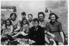 1940s Bognor or Battersea.Back row: Jill Simson, Margaret Hazell, Fred Hazell, Florrie Hazell, Margaret Allen and Gina Hollywood.Front row: Jenny Reed, Ruby Hazell and Brian Hazell.