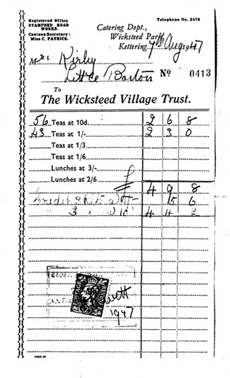 August 7 1947 Miss Kirby buys teas at Wicksteed Park.