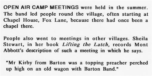 Open air camp meetings.