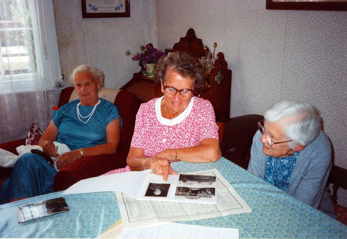 July 1992 End of season Methodist Dashwood House meeting at Miss Ruth Kirby's. Mrs. C. Stevens, Mrs R. Stockdale, Miss R. Kirby.