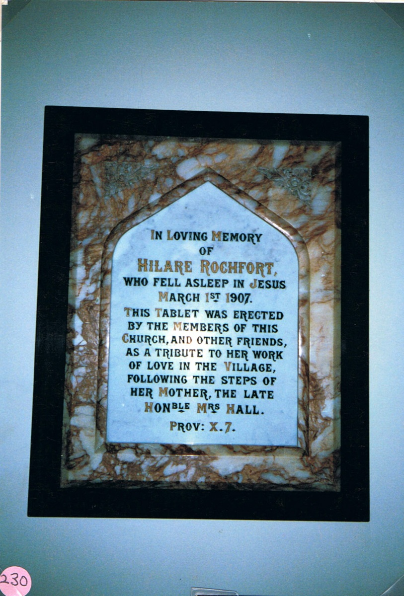 Chapel memorial: Hilare Rochfort, daughter of Mrs Alexandra Hall.