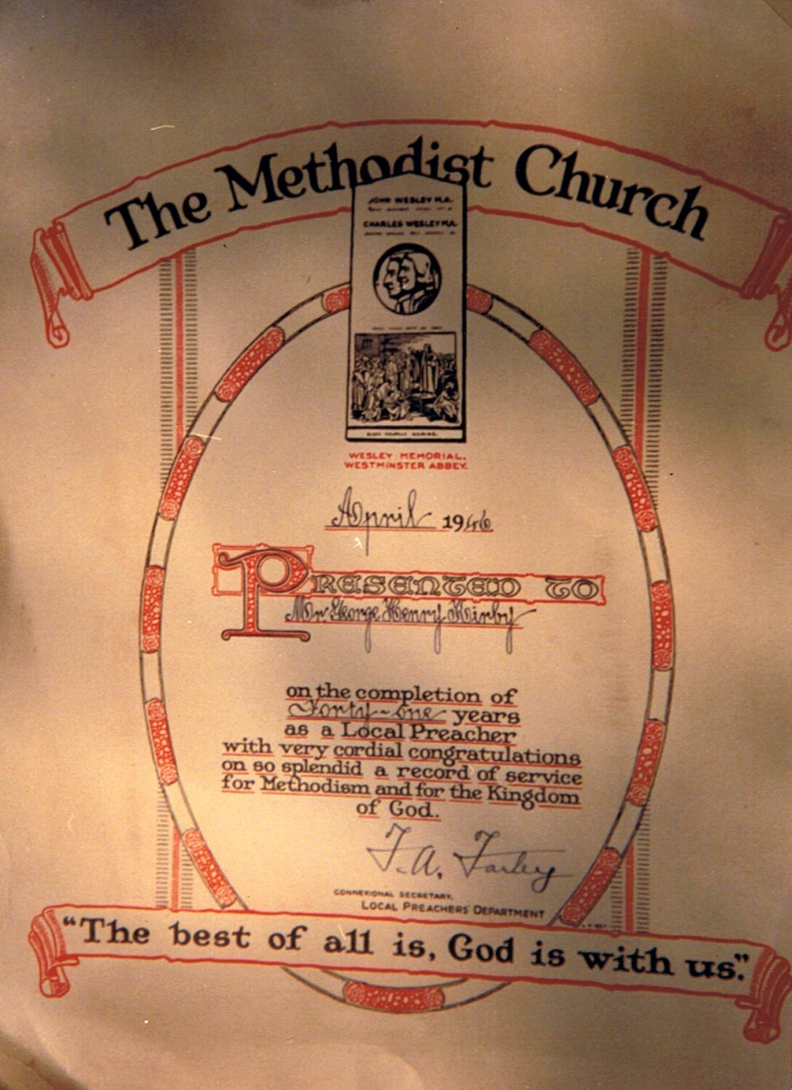 April 1946. George Henry Kirby - 41 years as a local preacher. Presentation by the Methodist Church.