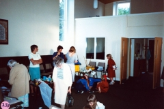 July 1987 Brownies and Guides invited visitors to one of their meetings in the chapel. Left to right: Lilian Garvey, Cynthia Bradshaw, Marjorie Fowler, Denise Roberts. Front: Elsie Bradshaw.