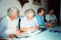 July 1992 End of season Methodist Dashwood House meeting at Miss Ruth Kirby's. Mrs. B. Wyatt, Mrs. H. Bassett, Mrs. D. Evans, Mrs. G. Benfield.