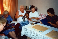 August 1994 Dashwood House summer meeting at 67 North Street. Charis Stevens, Margaret Allen, Barbara Imbert, Brenda Monk.