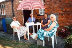 August 1994 Dashwood House summer meeting at 67 North Street. Barbara Imbert, Charis Stevens, Brenda Monk, Kathleen Brown.