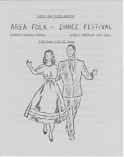 17 February 1964 Area Folk-Dance Festival, Banbury Grammar School.