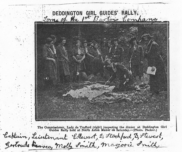 c. 1925 Deddington Girl Guides' Rally. Lady de Trafford inspecting the dinner. Captain, Leiutenant E Stewart, D Stockford, D Stewart, Getrude Reeves, Molly Smith, Majorie Smith.