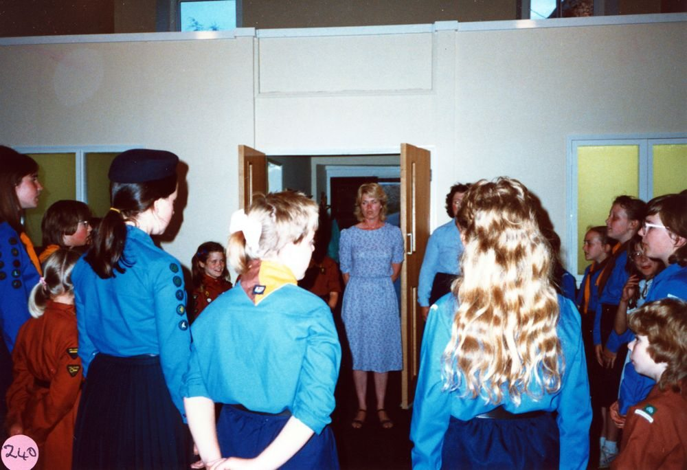 July 1987 Guides and Brownies Open Meeting. Christine Gough in doorway.