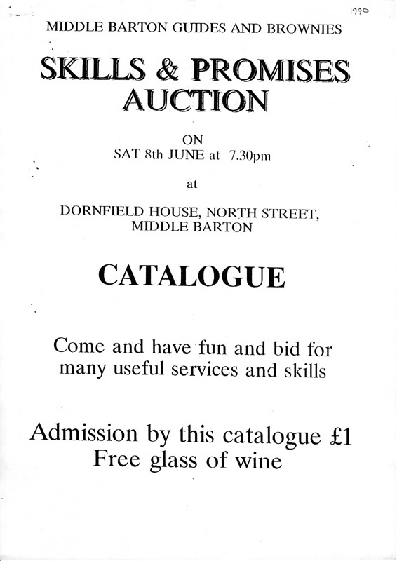 8th June 1990 Guides and Brownies Skills and Promises Auction.