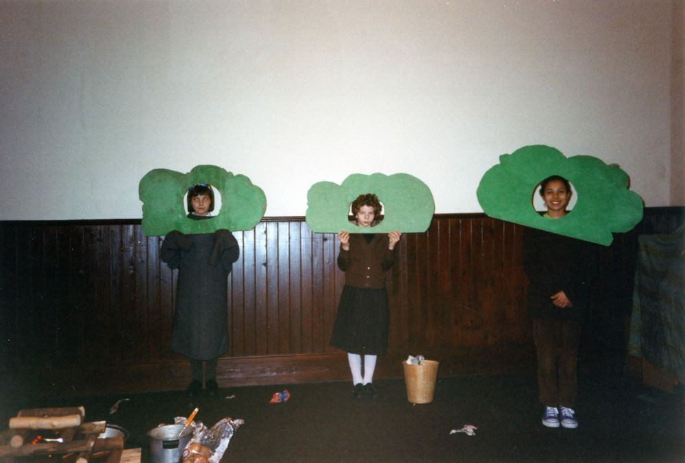 12 March 1992 Guides Pantomine. L to R: Sarah Parrett, Amanda Jeffries, Gemma Clark.