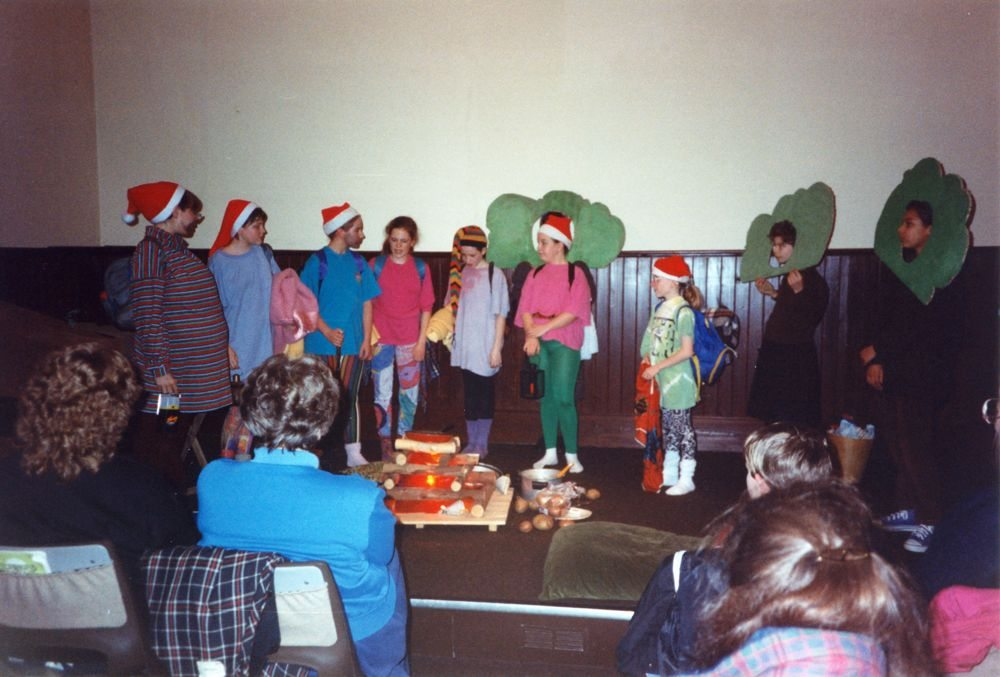12 March 1992 Guides Pantomine. L to R: Helen Cooper, Ellie Clark, Holly Roberts, Lucy Horne, Catherine Conway, Kelly Haupt, Jenny King, Amanda Jeffries, Gemma Clark.