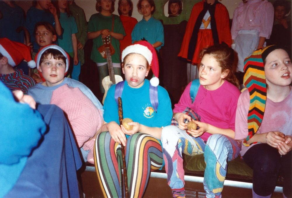 12 March 1992 Guides Pantomine. L to R: Ellie Clark, Holly Roberts, Catherine Gathony, Kelly Haupt.