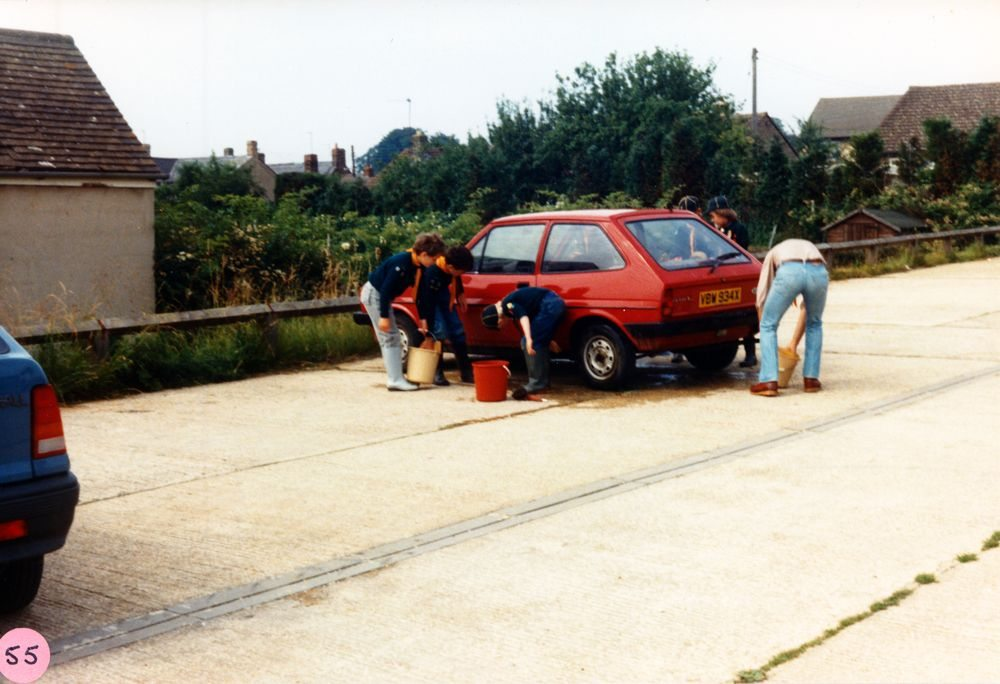 July 1986 Cub/Scouts car wash.