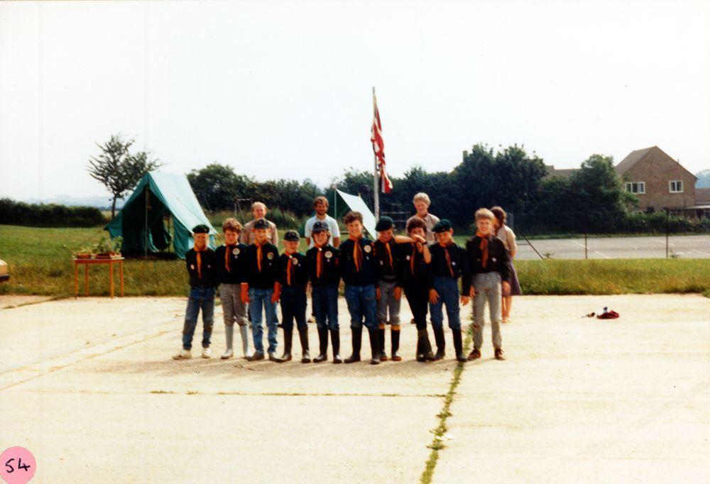 July 1986 Cub/Scouts car wash. 6th boy from left: Jeff Wood. Far right: Ian Hutchinson.