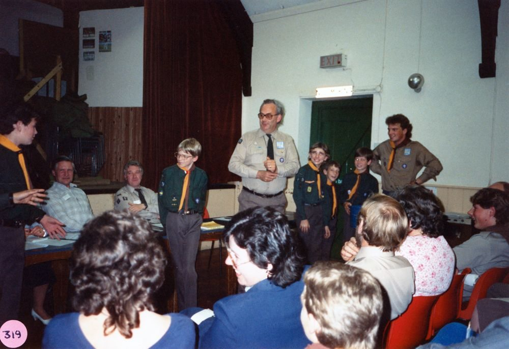 June 1988 Cub/Scout AGM. At the table: Austin Jones, Tony Outtridge, Chris Gregory, Bill Edbury (back view) and Andrew? Day.