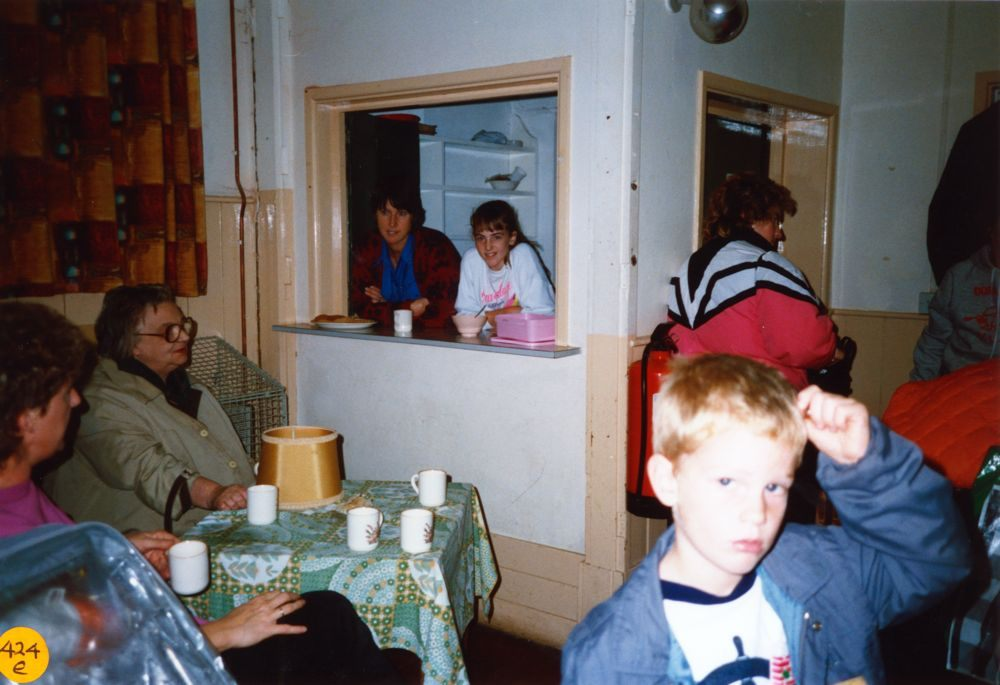 November 1989 Dorn Valley Venture Unit Jumble Sale. Bubbles Pratley second from left.