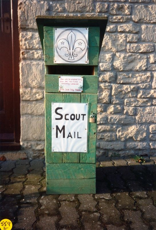 Christmas 1992 Scout mail - box made by Bill Edbury.