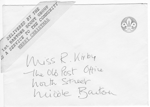 Christmas 1992 Scout mail to Miss Ruth Kirby.