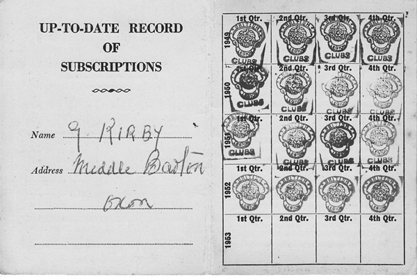 1950s British Legion. George Kirby's subscription card.