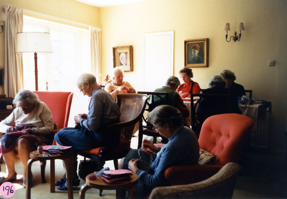 23 April 1987 Sewing squares for Oxfam blankets. Foreground: Kathleen Murray. Background L to R: Kathleen Packard, Charis Stevens, Margaret Allen (at back), Winnie Gibbons, Dorothy Evans, Ruth Kirby, ?.