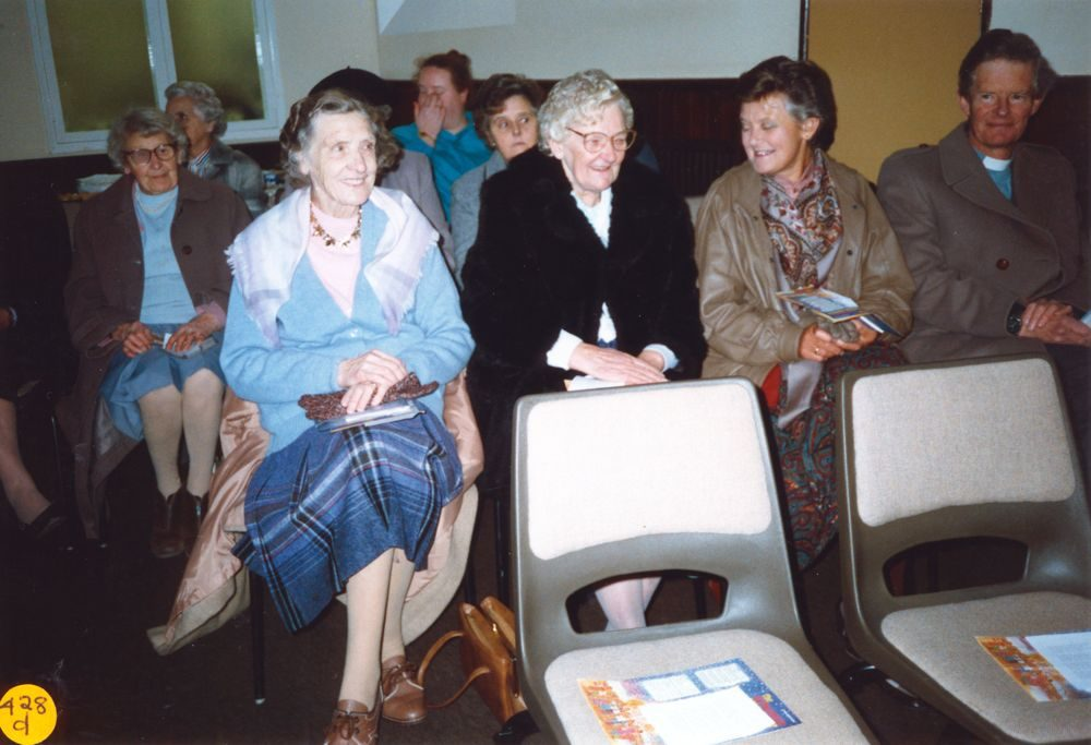 5 December 1989 Presentation of certificates. Back row: Alice Dennis, Jane Hazell. 2nd row: Ruby Pratley, ?, ?. Front row: Mary West, Rena Grantham, JoAn Davies and Reverend Tony Davies.