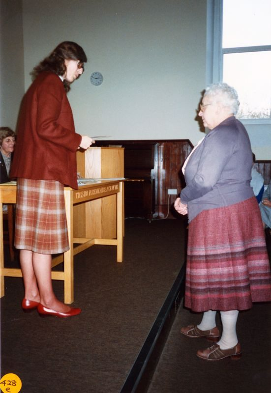 5 December 1989 Presentation of certificates. Rosemary Pierce and Margaret Allen.