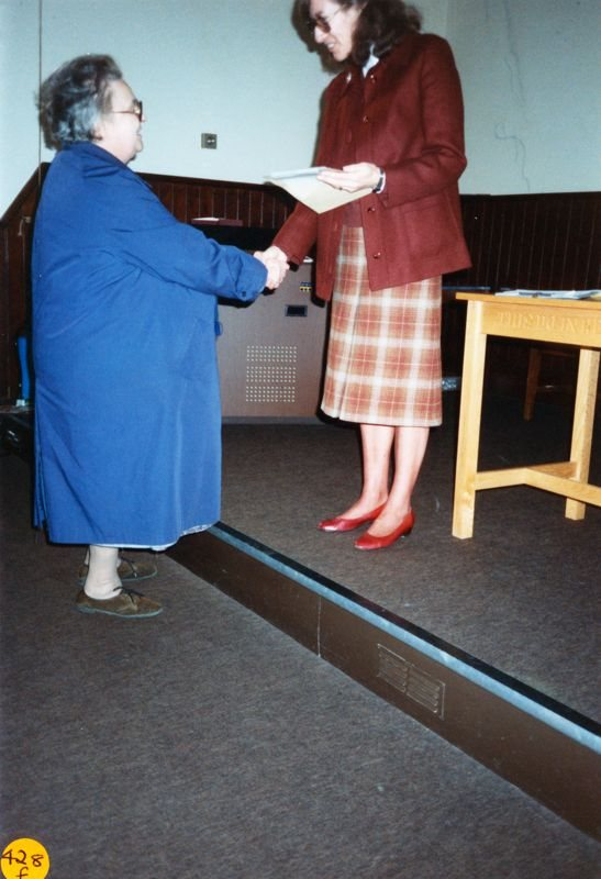 5 December 1989 Presentation of certificates. Bubbles Pratley and Rosemary Pierce.