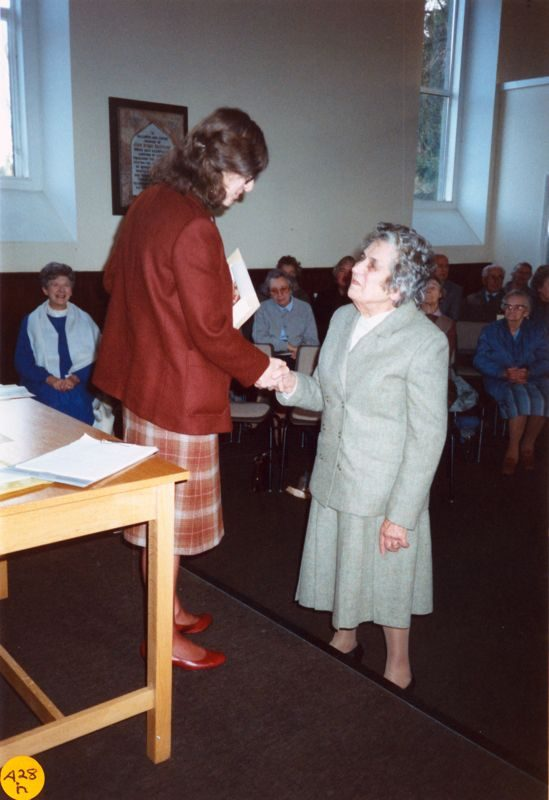 5 December 1989 Presentation of certificates. Rosemary Pierce and Joan Helby (or Dorothy Stranks?).