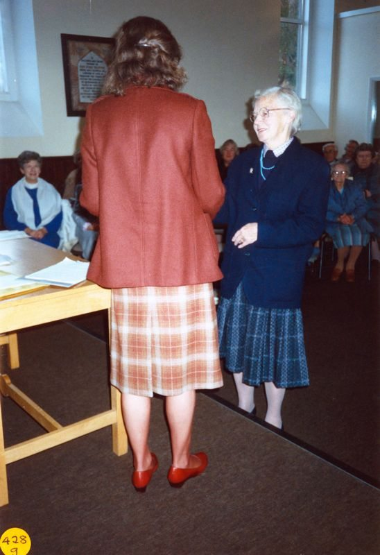 5 December 1989 Presentation of certificates. Rosemary Pierce and Charis Stevens.