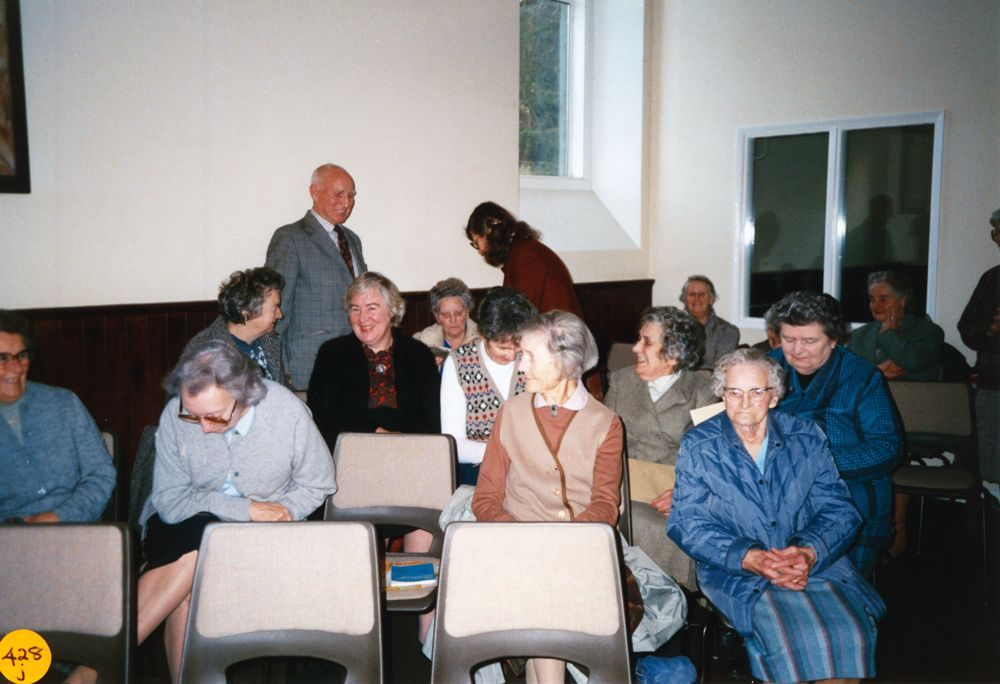 5 December 1989 Presentation of certificates. Bob Clements (at back), Lily Clements (seated), Rosemary Pierce (standing). Hilda Cox (front right).