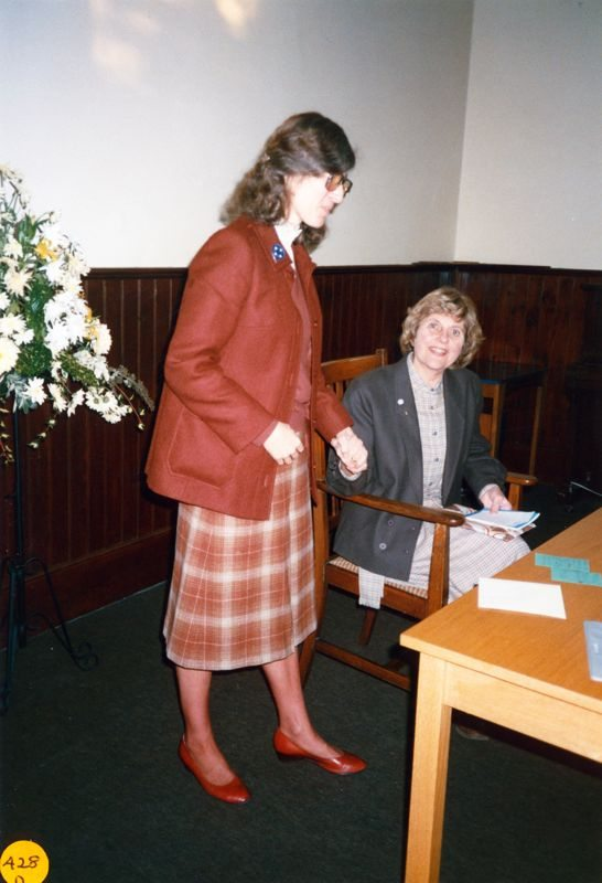 5 December 1989 Presentation of certificates. Rosemary Pierce and Jeanne Allington.