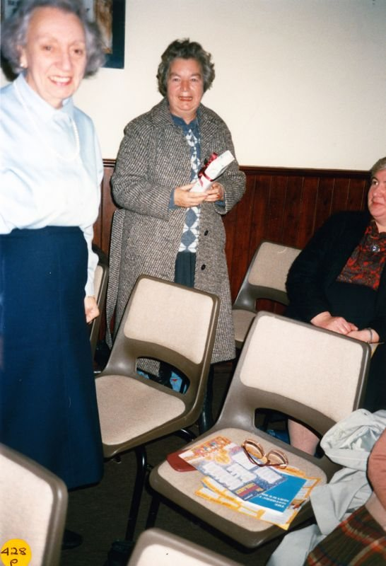 5 December 1989 Presentation of certificates. Left: Elsie Bridger, Middle: Jean Ringrose, Right: Margaret Gordon?
