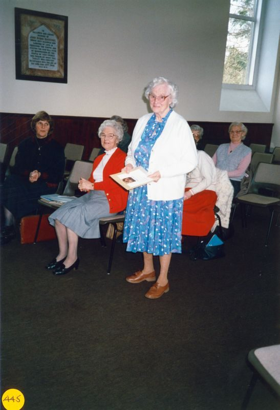 6 March 1990 Presentation to Margaret Hazell. L to R: Jeanne Allington, Ivy Reader, Margaret Hazell.