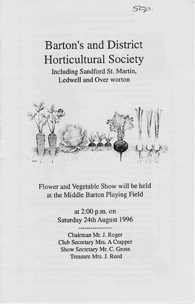 1996 Barton's and District Horticultural Society.