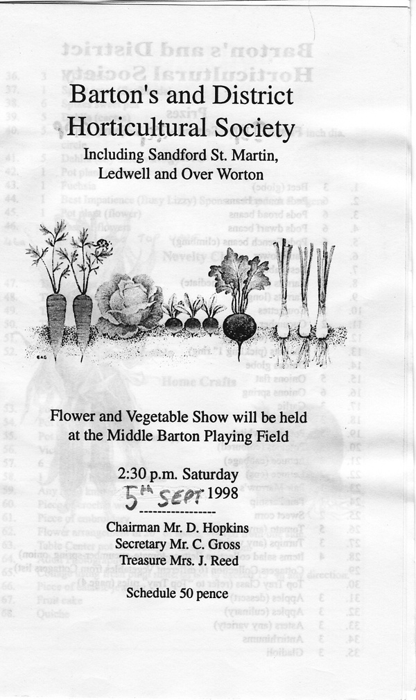 1998 Barton's and District Horticultural Society.