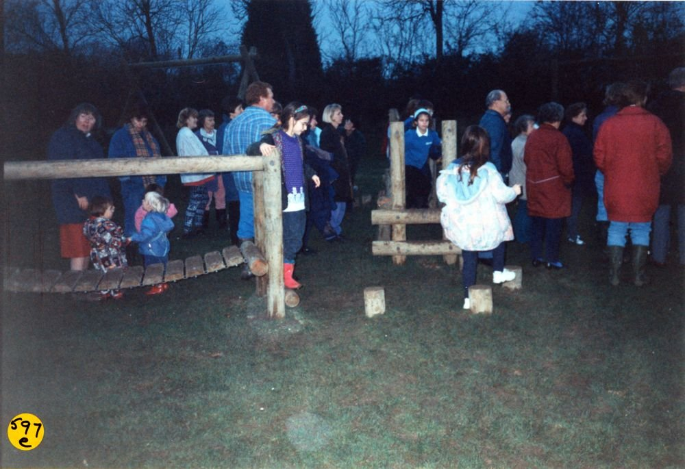 Playing Fields Play Area: Opening by John Yearly (Oxfordshire Playing Fields Association).
