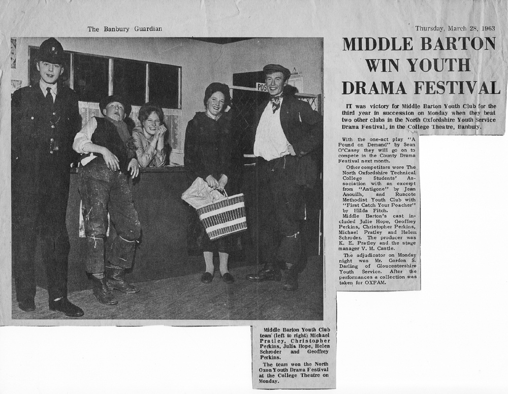 1963. Middle Barton win Youth Drama Festival.