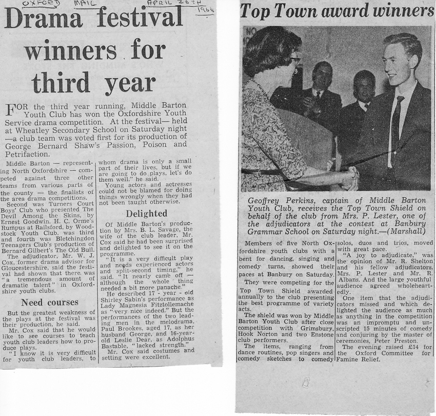 1964. Middle Barton win Youth Drama Festival.