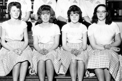 Early 1960s Middle Barton Youth Club Country Dancing Team. Back row l to r: Gillian Savage (Dornfield House), Pauline Jarvis (Elm Grove Farm), Yvonne Bowden (Marshall Crescent), Anne Bridgewater (Barn Cottage, top of the Dock). Front row l to r: Christine Savage (Dornfield House), Fiona Buswell nee Hope, Jean Ogle, Shirley Sabin (cottage Hard Road Hill, now gone).