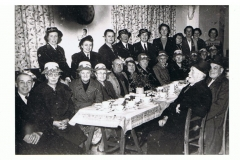 1940s Red Cross Tea Party. Joan Fleming and Mary Osment are standing left and third left. Others there were Rose West, Rene Stockford, James Canty and Pop Hopes.