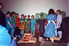 12 March 1992 Guides Pantomine. L to R: Charlotte Davis, Alexis Thomson, Nicky Burwell, Hester Gathony, Hannah Schneider, Lucy Waring, Louise Phipps, Sarah Parrett (brown dress), Emma Jones, Eleanor Norgrove.
